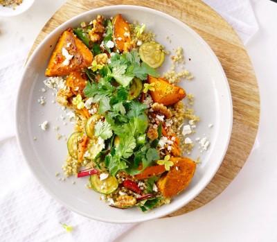 Spiced Quinoa with Roast Veggies & Maple Walnuts