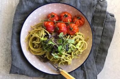 Avocado Pesto Pasta With Roasted Tomatoes & Microgreens Recipe