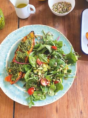 Roasted Sweet Potato With Vegan Pesto And Chopped Salad