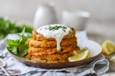 Sweet Potato Fritters With Sour Cream Dipping Sauce