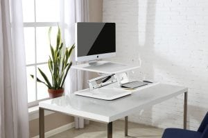 Ergolux Lite Height Adjustable Sit Stand Desk Riser Small White